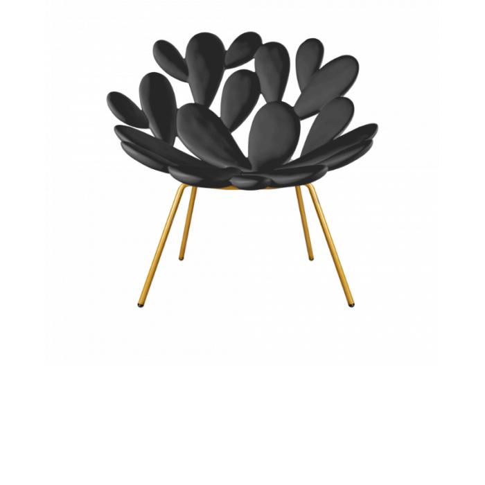 Black armchair shaped like a cactus plant