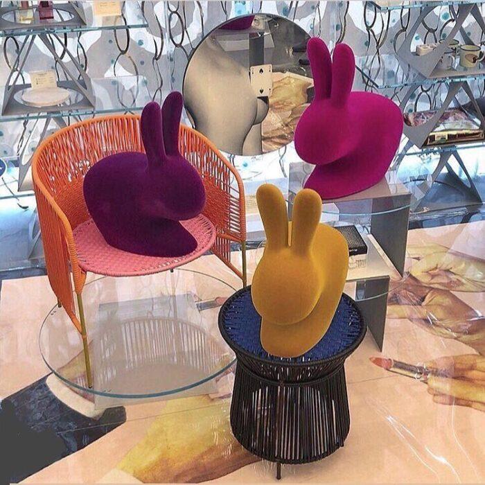 Rabbit shaped chair in velvet finish